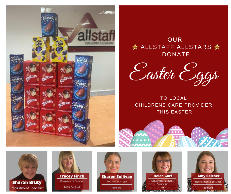 Allstaff Recruitment Bedford deliver Easter Eggs to Children's Care Bedford