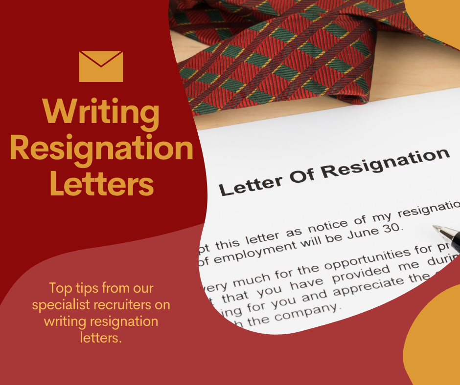 Image of resignation letter with writing saying top tips for writing resignation letters